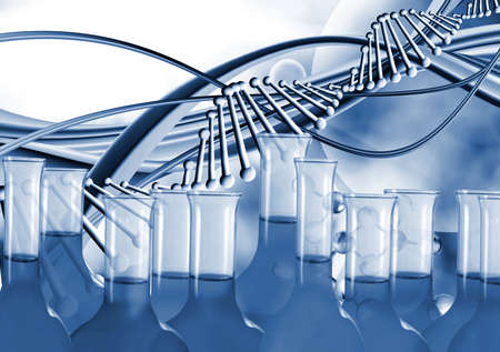 Сhemical test tubes stand against the background of an abstract image of the dna chain.3d image.