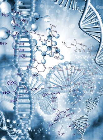 Abstract 3d image of a DNA chain on a blurred background with chemical formulas.