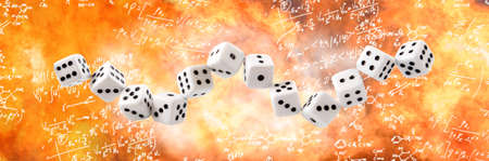 Dice connected in a chain on the background of mathematical formulas, enveloped in flames