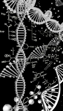 Abstract image of a DNA chain on a black background with chemical formulas.3d image.