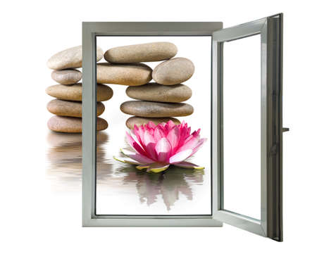 lotus flower and stones in an open window