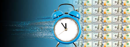 An alarm clock with particles flying out of it, as a symbol of the rapid passage of time. Dollars move in time and space.