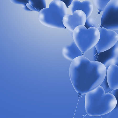 3d image of beautiful colorful balloons on sky background. Balloons as a symbol of love and holiday. Stok Fotoğraf