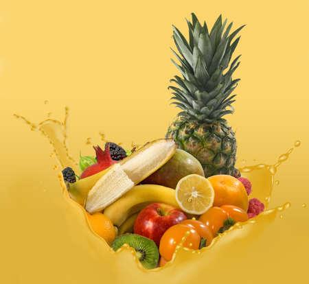 image of many fruits and splashes of juice closeup