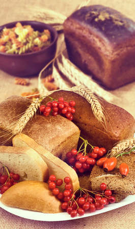 Image of a dish with bread and berries.Toned image
