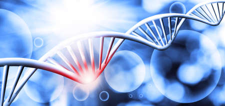abstract 3d image of dna chain on blurred background