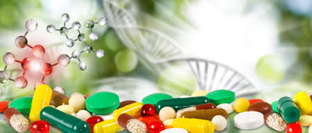 Set of pills on the background of a DNA chain .Gene mutation Stock fotó