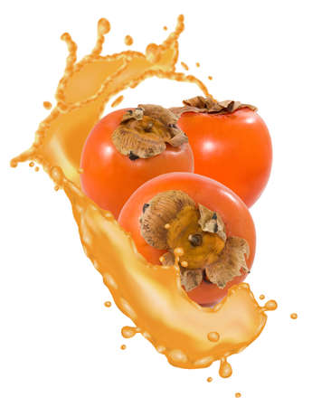 Image of three fruits of persimmon surrounded by juice in the form of a splash Stock fotó