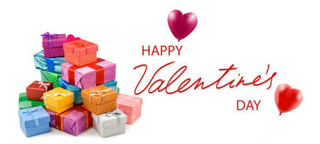 Happy Valentine's Day with gifts and images of stylized hearts. Stock Photo