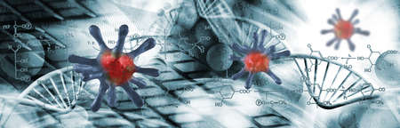Abstract image of coronaviruses on the background of a stylized image of the DNA chain. 3d illustration