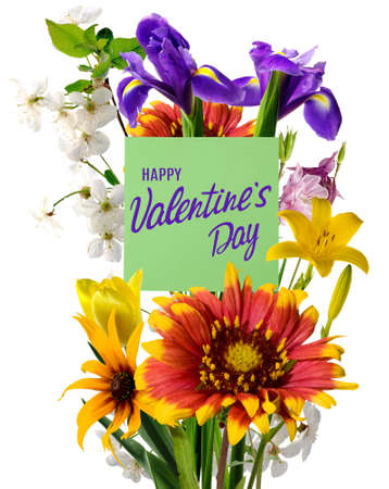 happy valentines day with beautiful festive flowers on white  background