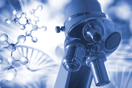 Microscope on the background of a stylized image of a DNA chain.