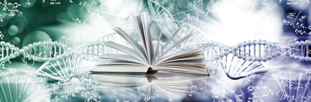 open book on DNA genetic chain background