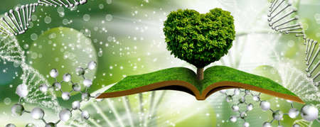 A stylized image of a tree in the shape of a heart on books on a background of a fantastic landscape with dna.
