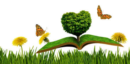 A stylized image of a tree in the shape of a heart on books on a background of a fantastic landscape