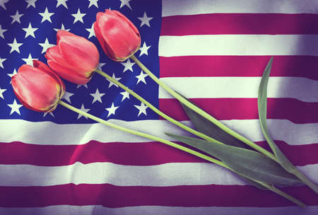 Vintage image of the flag of USA with three red tulips. Imagens - 139880370