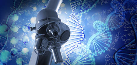 Microscope  on the background of a stylized image of a DNA chain. 3d illustration Stockfoto