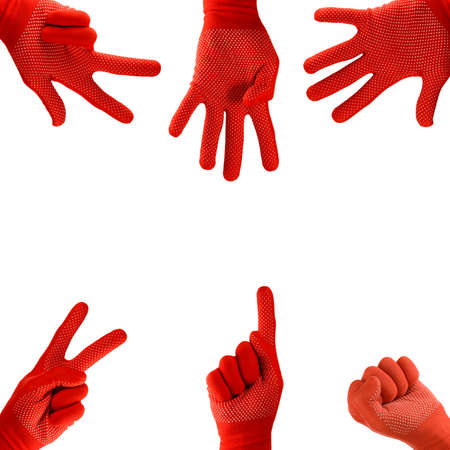 image of one to five fingers hand in glove on white background close-up Imagens