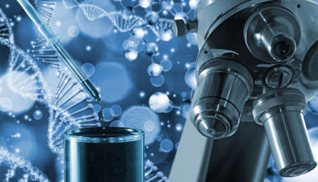 Microscope  on the background of a stylized image of a DNA chain. 3d illustration Reklamní fotografie