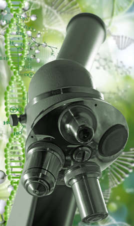 Microscope  on the background of a stylized image of a DNA chain. 3d illustration Imagens