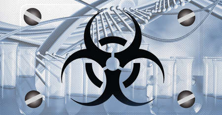 Sign - biological hazard.Abstract image of coronaviruses on the background of a stylized image of the DNA chain. 3d illustration Imagens