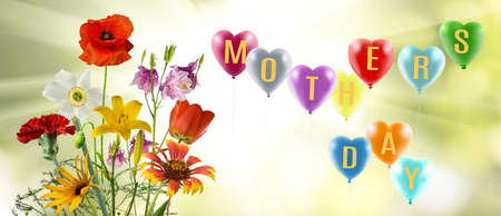 Greeting card with balloons and mothers day greeting inscription