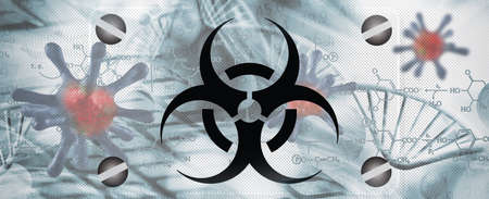 Sign - biological hazard. Abstract image of coronaviruses on the background of a stylized image of the DNA chain.