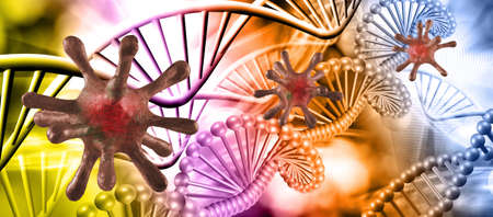 Abstract image of coronaviruses on the background of a stylized image of the DNA chain. Imagens