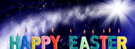 Easter greeting card image. Greeting lettering on abstract background