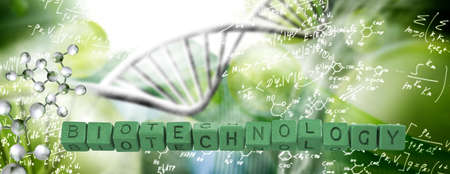 Inscription-biotechnology- laid out of cubes. Abstract image of dna chain on blurred background.3d illustration.