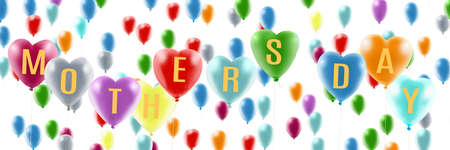 Greeting card with heart-shaped balloons and mothers day greeting inscription Imagens