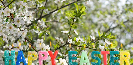 Easter greeting card image. Flowers and greeting lettering Imagens