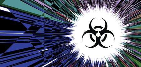 Sign - biological hazard. Abstract image of coronaviruses on the background of a stylized image of the DNA chain. 3d illustration