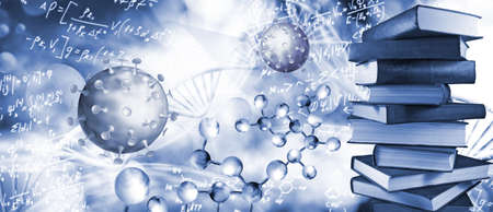 Abstract image of coronaviruses on the background of a stylized image of the DNA chain. 版權商用圖片