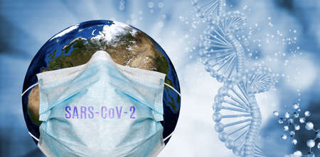 Abstract image of coronaviruses and planet Earth in a protective mask. 3d illustration 版權商用圖片