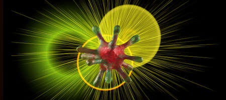 Abstract image of coronaviruses on a green background. 3d illustration