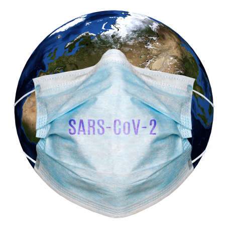 Abstract image of coronaviruses and planet Earth in a protective mask. 3d illustration Stockfoto