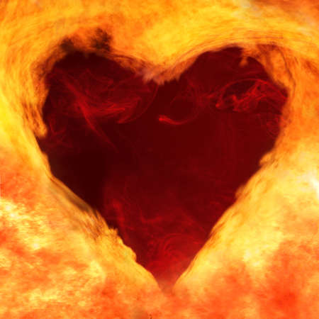 image of a flame that forms the shape of a stylized heart