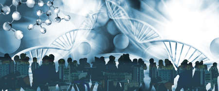 Image of a group of people on whose silhouettes the image of urban buildings is superimposed. The image is crossed by stylized DNA chains.