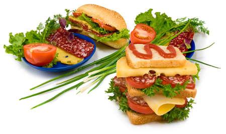 Isolated image of hamburgers and sandwiches on white background Stockfoto