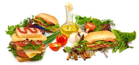 Isolated image of hamburgers and sandwiches on white background Imagens