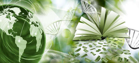Image of planet Earth, an open book and scattered letters of the alphabet on the background of stylized dna chains