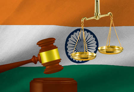 judges gavel and scales against the background of the flag of Republic of India. 3D- image