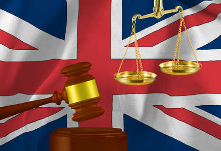 judges gavel and scales against the background of the flag of the United Kingdom of Great Britain and Northern Ireland. 3D- image