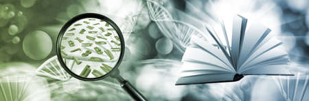 Image of an open book, a magnifying glass and scattered letters of the alphabet against the background of stylized DNA chains Stockfoto