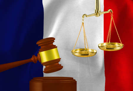 The image of the judges gavel and scales against the background of the flag ofthe French Republic