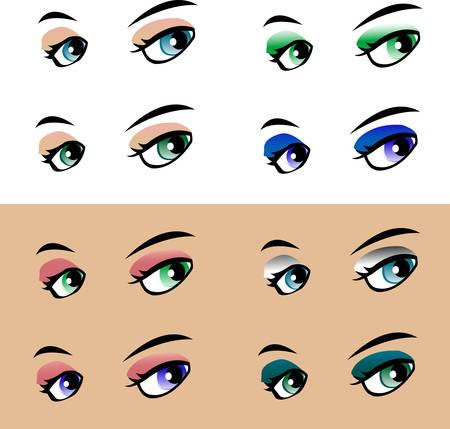 ceremonial makeup: colored vector woman eye Illustration