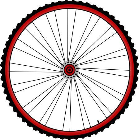 roues de bicyclette à rayons et pneus isolé sur blanc