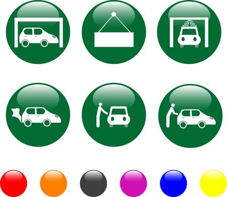 car service green icon button Stock Vector - 9603131