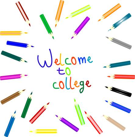 anouncement to welcome to college writen colored pencils Vector